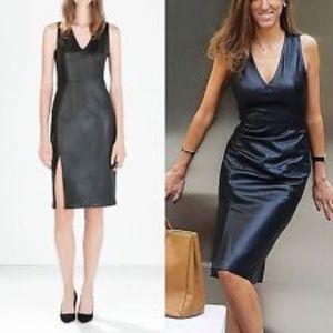 Zara Paris France - Leatherette Tight Midi Dress